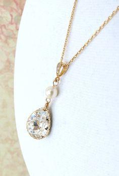 Swarovski Teardrop Crystal Necklace, Bridal Bridesmaid Necklace, Swarovski Crystal Drops, Pearl, Cubic Zirconia necklace, gold, by GlitzAndLove, www.glitzandlove.com