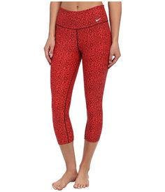 Nike Legend 2.0 Mezzo Tight Capri Action Red/Deep Burgundy/Ivory - 6pm.com