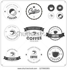 Set of vintage coffee themed monochrome labels by Ivan Baranov, via Shutterstock