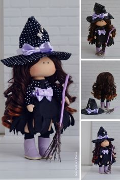 Witch Rag Doll, Halloween Art Doll, Textile Purple Doll, Soft Cloth Doll Fabric Rag Doll, Interior Decor Doll Handmade Tilda Doll by Maria K Halloween Art, Country Halloween, Fabric Dolls, Art Dolls, Doll Clothes, Textiles, Fashion Outfits, Fashion Tips, Witch Dolls