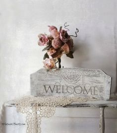 Vintage Welcome Sign. French Flea Market by 3vintagehearts on Etsy