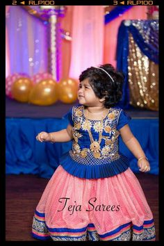 Little girl in pink and blue langa blouse. Kids Gown Design, Girls Frock Design, Kids Frocks Design, Baby Dress Design, Baby Girl Lehenga, Kids Lehenga, Frocks For Girls, Dresses Kids Girl, Baby Dresses