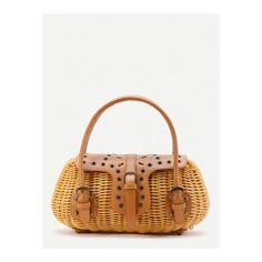 PU Insert Straw Bag (€36) ❤ liked on Polyvore featuring bags, handbags, khaki, white bag, polyurethane handbags, pu purse, straw bags and white handle bags