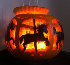 Carousel Pumpkin | carousel pumpkin carving More