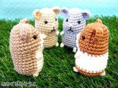 Hamster Amigurumi - Free Japanese Pattern http://amigurumisouko.web.fc2.com/hamu-amizu.html