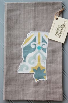 Kitchen Tea Towel - Linen Tea Towel - Embroidered Tea Towel - Mississippi Linen Tea Towel - Blue and Yellow Star by MSstitchesbyKatie on Etsy