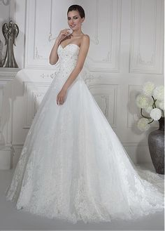 Fabulous Tulle Sweetheart Neckline A-line Wedding Dresses with Lace  Appliques Cheap Dresses 9c2fbe0872f1