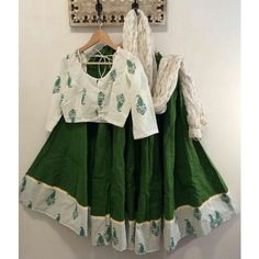 Green Poly Silk Printed Semi Stitched Lehenga