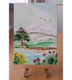 Mountain Pass : an postcard size painting with lots of detail. Hot wax Encaustic Art