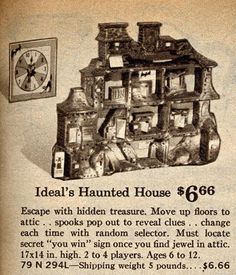 Vintage Halloween Ephemera ~ 1962 Sears Wishbook Catalog Page Featuring a Haunted House Game by Ideal