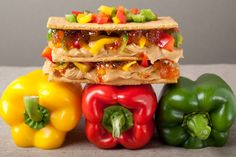 Graham Bell: Triple stacked honey graham crackers with The Bee's Knees peanut butter and chopped red, yellow, and green bell peppers sandwiched in between.