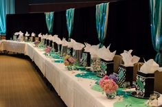 Banquet Ideas White Paper Doilies Painted Various Shades Of Teal Formal Party Decorationsbanquet Table