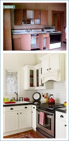 From this to that--a stunning kitchen remodel that cost just $3,000.  See how this couple did it here.