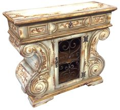Beautiful hand painted small chest W X D H, it has one little drawer and wrought iron door. Ideal as an accent piece, nightstand or entry piece. We also customized furniture. Hand Painted Furniture, Handmade Furniture, Unique Furniture, Luxury Home Decor, Luxury Homes, Tuscan Furniture, Modern Rustic Homes, Wrought Iron Doors, Tuscan House