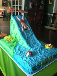 One large sheet cake for bottom layer. One 9x13 sheet cake for slide. I carved 9x13 cake for water slide, then placed it on it's side t...