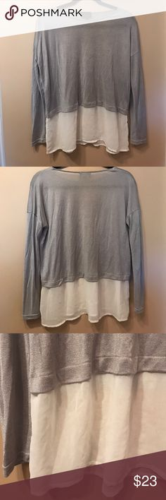 Cropped Sweater with Chiffon Bottom Lavender gray sweater with chiffon bottom Sweaters Crew & Scoop Necks