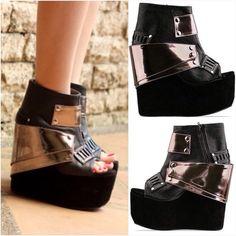 "Spotted while shopping on Poshmark: ""Gold Dot Drei platform wedge booties""! #poshmark #fashion #shopping #style #Gold Dot #Shoes"