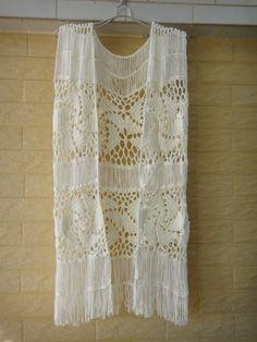 White Fringe Vest Crochet Hippie Top Sleeveless Cardigan WHEEL