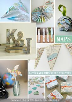 Map travel theme decor DIY tutorial ideas