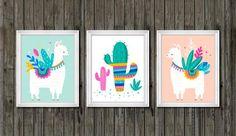 Coral Nursery, Boho Nursery, Nursery Decor, Llama Print, Colorful Succulents, Cactus Print, Bedroom Themes, Baby Room Decor, Girl Room