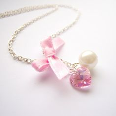 Romantic Pink necklace with White Pearl, Swarovski heart pendant and pink Bow on Etsy, $12.00