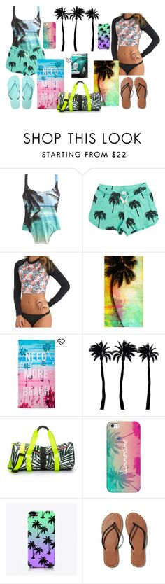 """""""palm tree twins"""" by alaskan-bush-people ❤ liked on Polyvore featuring J.Crew, Swell, Reef, Universal Lighting and Decor, Aéropostale, Dot & Bo, Monreal, Casetify, Abercrombie & Fitch and Havaianas"""
