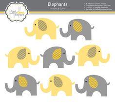 Jaune & gris éléphant éléphant de Clipart par LittleLlamaShoppe