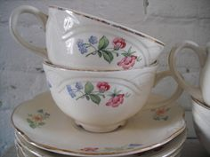 Vintage Homer Laughlin Tea Cups and Saucers by WhimsicalRevival