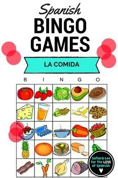 Learn the names of popular foods in Spanish with these bright and beautiful Bingo cards! Includes 25 food vocabulary words, 40 bingo cards (printed 2 per page) and a call list. Students will LOVE this! Great for reinforcing vocabulary throughout the lesson, test review or substitute plans.