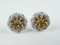"""Czech Unique Glass Earrings Stud Solid 925/1000 Sterling Silver 11mm - 7/16"""" #CzechArt77 #Stud"""