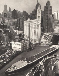 Barge in the Chicago River, 1950s
