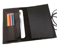 Leather Moleskine Cover, Leather Portfolio,Leather iPad Mini Sleeve, Leather Pencil Case, Hand Stitched