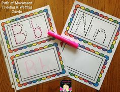 Tracing Cards Path of Movement$:  ABC literacy center activity