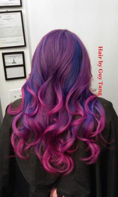 Purple to pink ombre with blue highlights