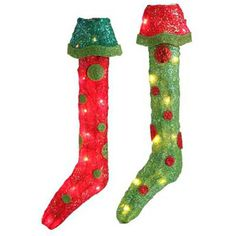"RAZ Lighted Christmas Stocking Set of 2  Red/Green/Lime Made of Tinsel Measures 18.5"" UL Certified 10 Clear Lights  Stockings decorated with polka dots.   RAZ Count Down to Christmas"