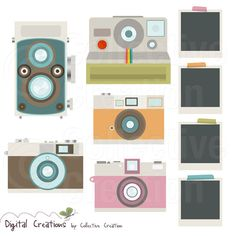 Retro Camera Digital Clip Art Clipart Set - Personal and Commercial Use. $4.00, via Etsy.
