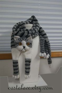 Items similar to Tabby Gray Cat Scarf Knitting Scarf Gray Scarf Cowl Scarf Long Scarf knit, winter scarf, Christmas Gift, Multicolor Scarf on Etsy Diy Crafts Knitting, Knitting For Kids, Baby Knitting Patterns, Hand Knitting, Crochet Patterns, Cat Scarf, Hand Knit Scarf, Grey Scarf, Long Scarf