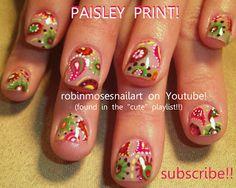 Nail-art by Robin Moses: paisley nail, bandana nail