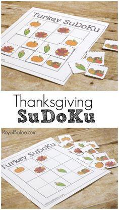 Thanksgiving SuDoKu Logic Games for Kids - Royal Baloo