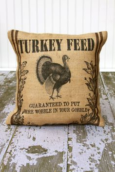 Turkey Feed burlap Thanksgiving Pillow Cover by MonMellDesigns, $40.00