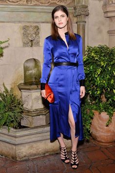 Alexandra D'Addario wears DVF SS17 to a dinner celebrating DVF Chief Creative Officer Jonathan Saunders in Los Angeles.