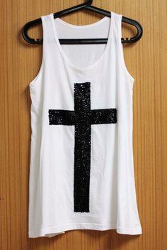 Croix T Shirts Tank Top chemisier tunique femme chemise sans manches à la main cristal paillettes perles graines coudre fix