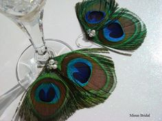 Peacock Wine Charms from Etsy - misunbridal