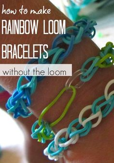 Here's how to make rainbow loom bracelets without the loom! This is an easy indoor craft and a great idea for an indoor activity for a rainy day! If you're always looking for new craft ideas for the kids like I am, check this out! #teachmama #kidscraft #indooractivity #rainbowloom #craftsforkids #craft #loom #rainydayactivity #indoorfun