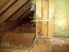 Rodent damage in attic. Electrical wires in attic chewed