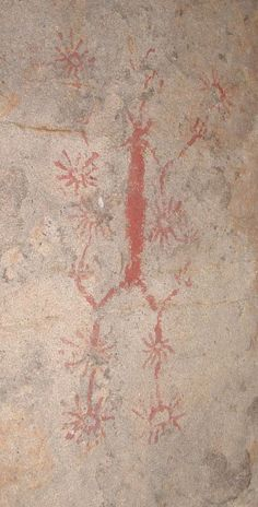 Chumash rock art. Note the energy coming from the human form into all creation