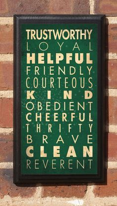 Boy Scout Laws Decorative Vintage Style Wall Plaque by CrestField, $32.00