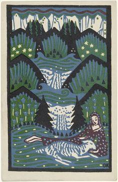 Oskar Kokoschka. Girl with a Sheep in the Mountain Meadow (Mädchen mit Schaf auf Bergwiese) (postcard). (1907)