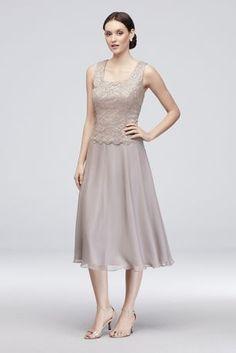 Floral Lace Tank Dress with Sleeve Jacket Style Mink, 18 Carolina Herrera, Mothers Dresses, Chiffon Skirt, Lace Tank, Bridesmaid Dresses, Wedding Dresses, Davids Bridal, Jacket Style, Tank Dress