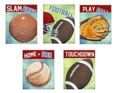 Sports  Nursery Canvas Art ,  Football Wall Hanging, 12x16 Baby Boys Room  Art Print. $65.00, via Etsy.